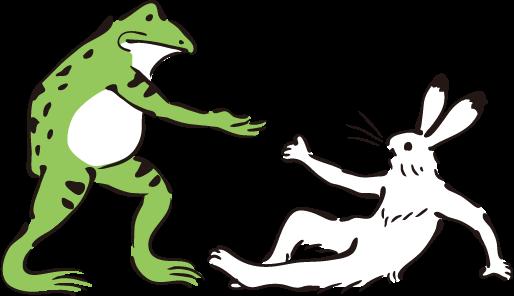 手助けするカエルとされる兎