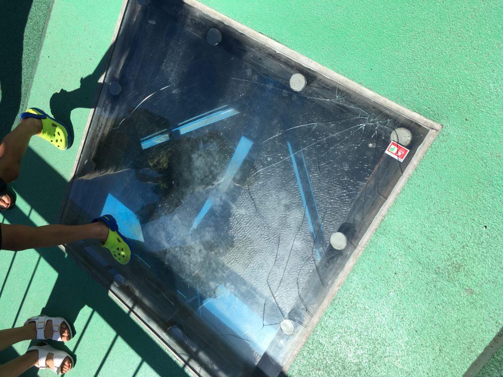 竜神大吊橋のひび割れたガラス張り