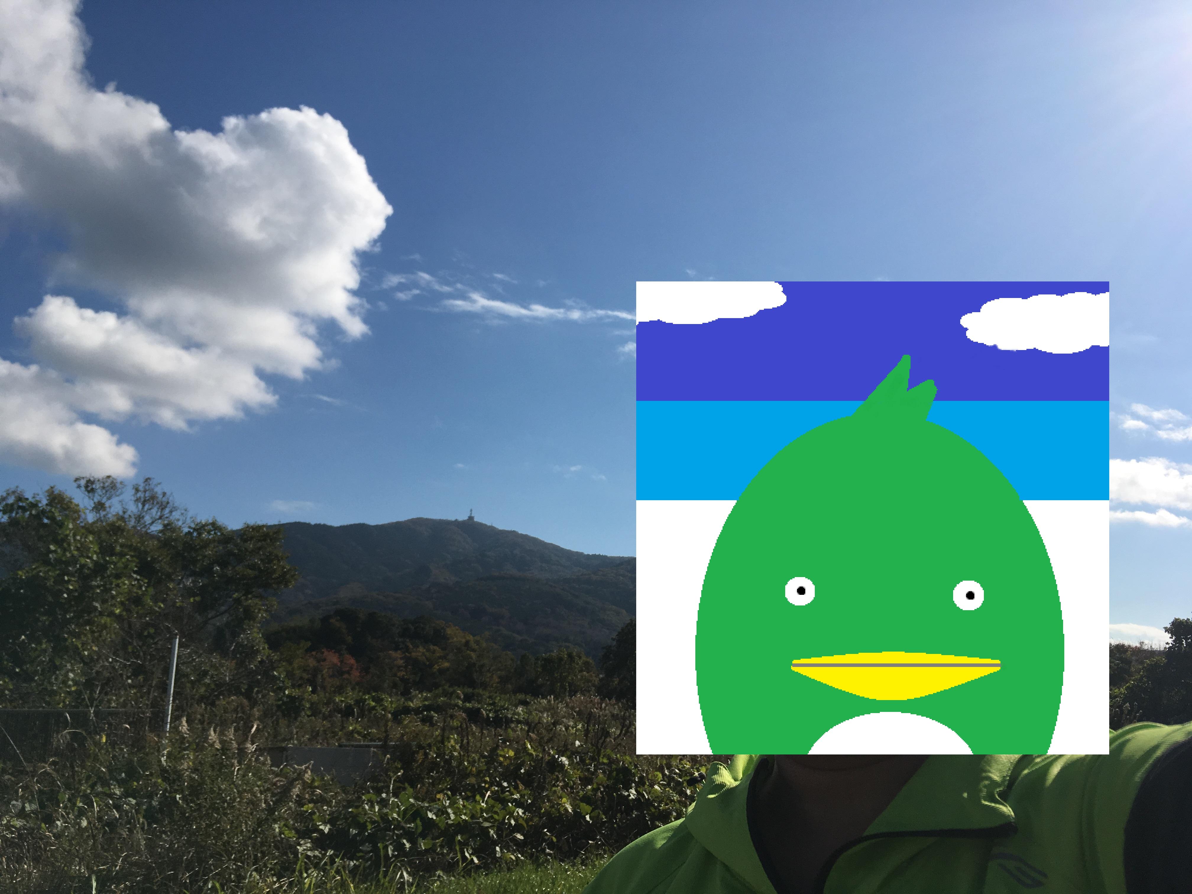 ダイエット登山 宝篋山バックに撮影